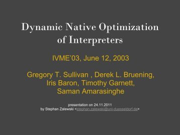 Dynamic Native Optimization of Interpreters