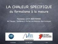 Mesure de chaleur spécifique - CNRS