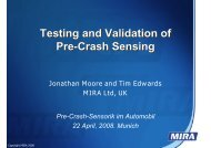 Testing and Validation of Pre-Crash Sensing Testing and Validation ...