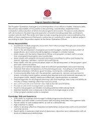 Program Operations Manager Job Description - Mind & Life Institute