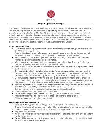 job description  program station manager   eucarpiaprogram operations manager job description   mind  amp  life institute