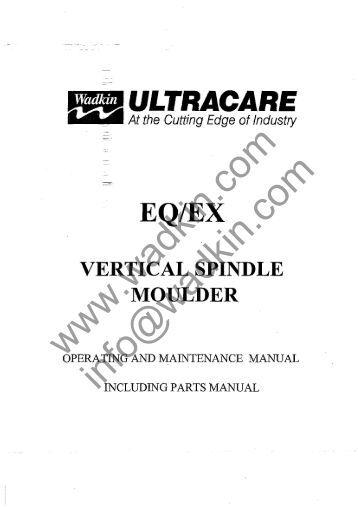 Wadkin FB Planer Moulder Manual and Parts List