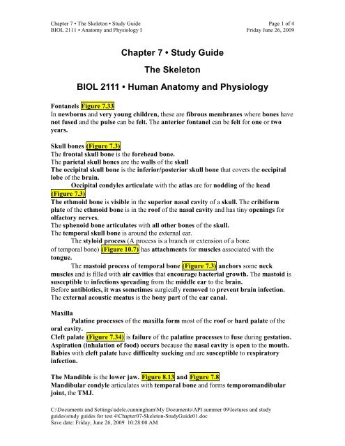 Chapter 7 • Study Guide The Skeleton BIOL 2111 • Human
