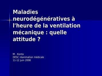 Maladies neurodégénératives à l'heure de la ventilation mécanique ...