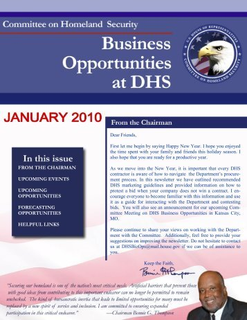 DHS Business Opportunities - January Newsletter - Committee on ...