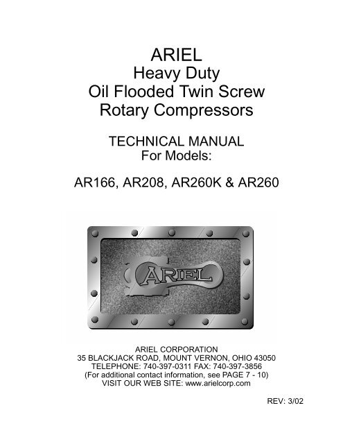 Heavy Duty Oil Flooded Twin Screw Rotary     - Ariel Corporation