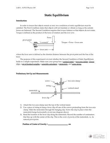 physics static and rotational equilibrium lab Rotational equilibrium a powerpoint presentation by paul e tippens, professor of physics  rotational and translational equilibrium is maintained.