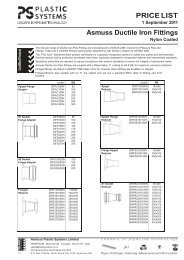 PRICE LIST Asmuss Ductile Iron Fittings - Plastic Systems