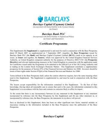 BARCLAYS BANK PLC Barclays Capital