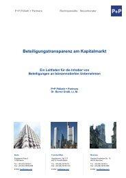 Beteiligungstransparenz am Kapitalmarkt - P+P Pöllath + Partners