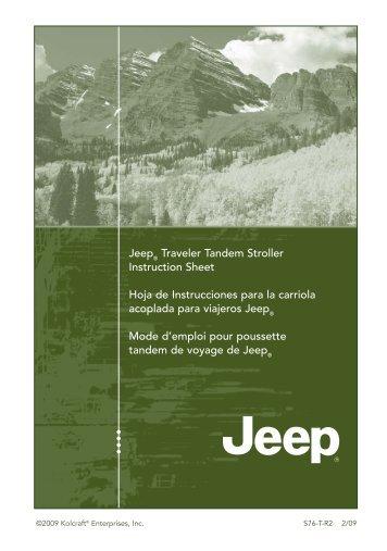 Jeep Traveler Tandem Stroller Instruction Sheet Hoja De - Jeep World