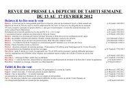 revue de presse la depeche de tahiti semaine du 13 au 17 ...