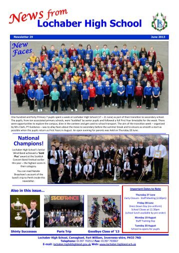 Newsletter 29 - June 2013 - Lochaber High School
