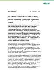 Heel patrocina el Premio Hans-Heinrich Reckeweg