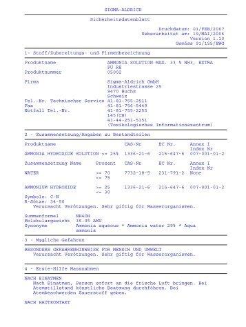 SIGMA-ALDRICH Sicherheitsdatenblatt Druckdatum: 01 ... - FIRST