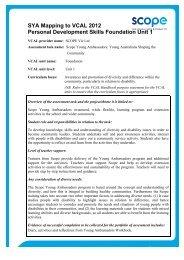 Personal Development Skills Foundation Unit 1 - Scope