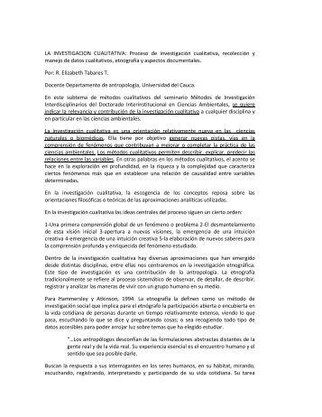 LA INVESTIGACION CUALITATIVA: Proceso de investigación ...