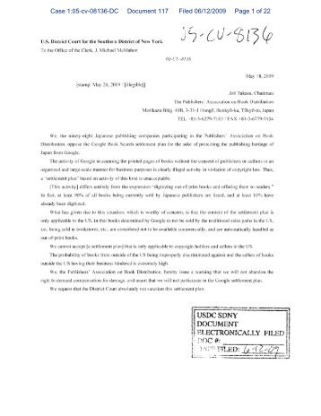 Case 1:05-cv-08136-DC Document 117 Filed 06/12/2009 Page 1 of 22