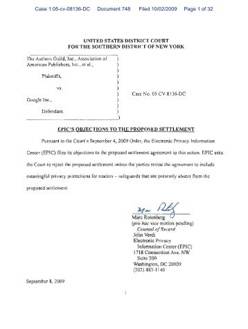 Case 1:05-cv-08136-DC Document 748 Filed 10/02/2009 Page 1 of 32