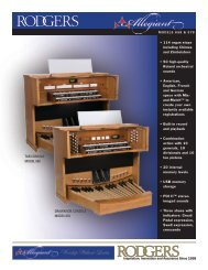 Orchestral Voices Features of the Allegiant Models 658 and 678