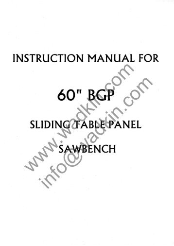 Wadkin SP Panel Saw Manual and Parts List