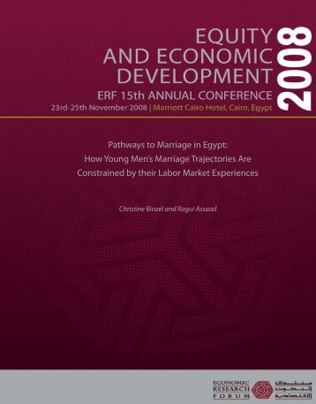 Pathways to Marriage in Egypt - Economic Research Forum
