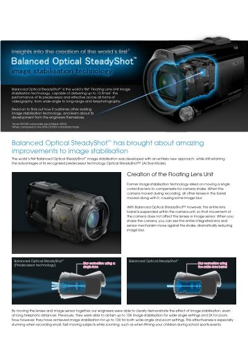 Find out how Balanced Optical SteadyShot ... - Sony Asia Pacific