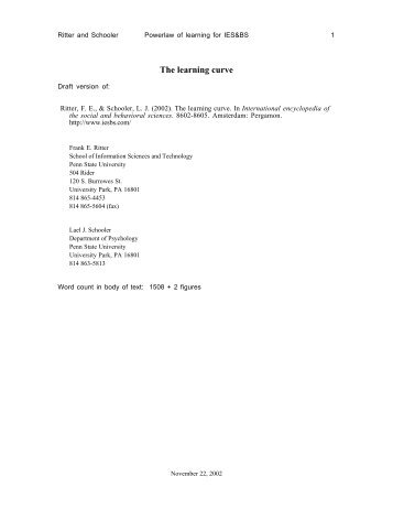 The learning curve - Applied Cognitive Science Lab - Pennsylvania ...