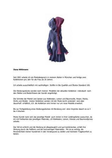 Ilona Wittmann Seit 2001 arbeite ich als Modedesignerin in ... - kultpur