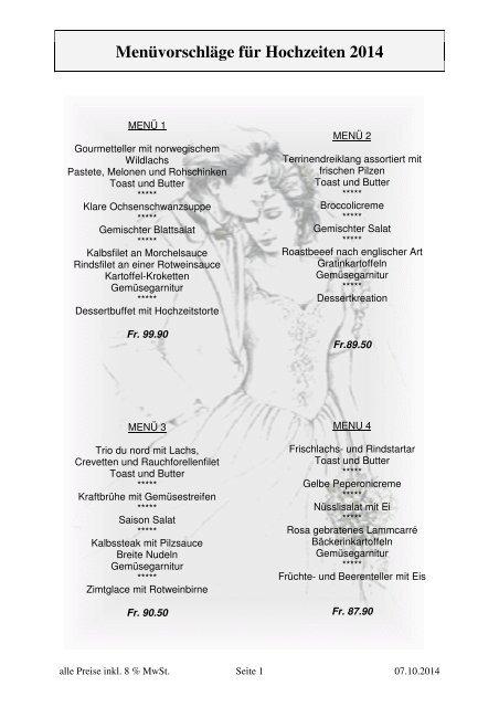 Menüvorschläge für Hochzeiten 2013