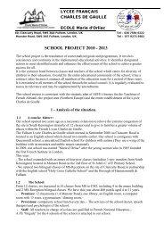 SCHOOL PROJECT 2010 - 2013 - Lycée français Charles de Gaulle