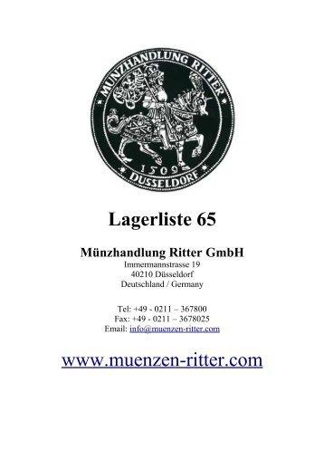 Lagerliste 65 www.muenzen-ritter.com - Münzhandlung Ritter GmbH