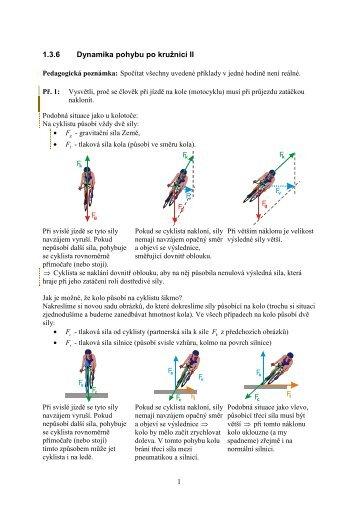 1.3.6 Dynamika pohybu po kružnici II