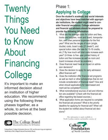 20 Things You Need to Know About College Financing