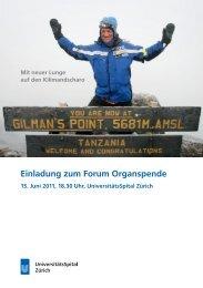 Einladung zum Forum Organspende - Transplantation (USZ ...
