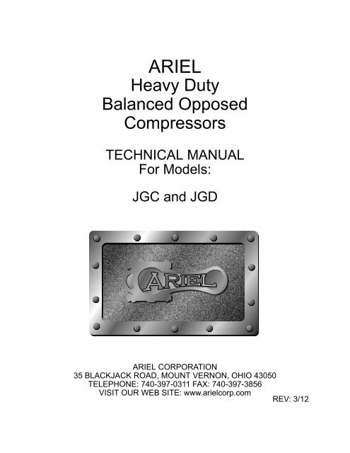 Heavy Duty Balanced Opposed Compressors - Ariel Corporation