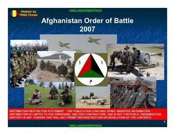 Afghanistan Order of Battle 2007 - Wikileaks