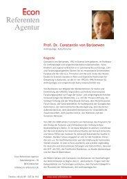 Prof. Dr. Constantin von Barloewen - Econ Referenten-Agentur