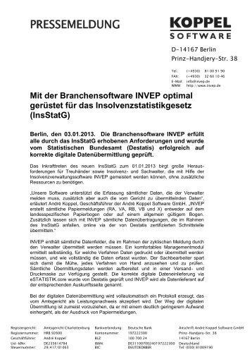 Mit Branchensoftware gerüstet für das Insolvenzstatistikgesetz - INVEP