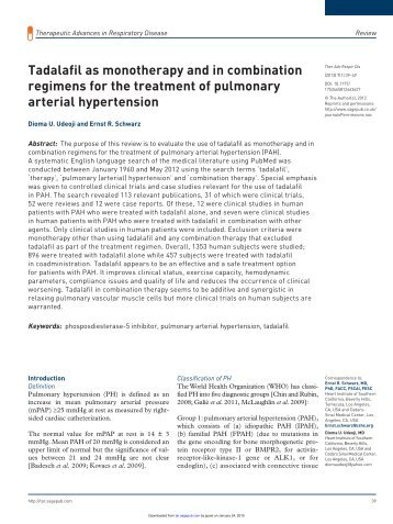 Tadalafil as monotherapy and in combination regimens for the ...