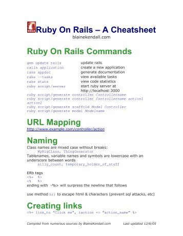 ruby on rails cheat sheet pdf