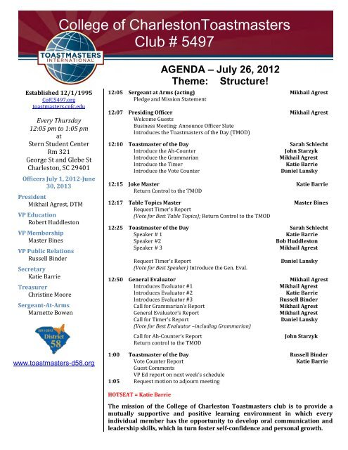 Agenda A July 26 2012 Theme Cofc Toastmasters Club