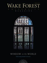 WINDOW on the WORLD - Past Issues - Wake Forest University