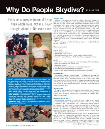Why Do People Skydive? By loRI zIto - AXIS Flight School