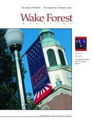 Wake Forest Magazine December 2000 - Past Issues - Wake Forest ...