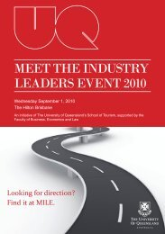 MEET THE INDUSTRY LEADERS EVENT 2010 - School of Tourism ...