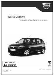 Dacia Sandero PREISE UND DATEN GÃœLTIG AB 02.01.2009