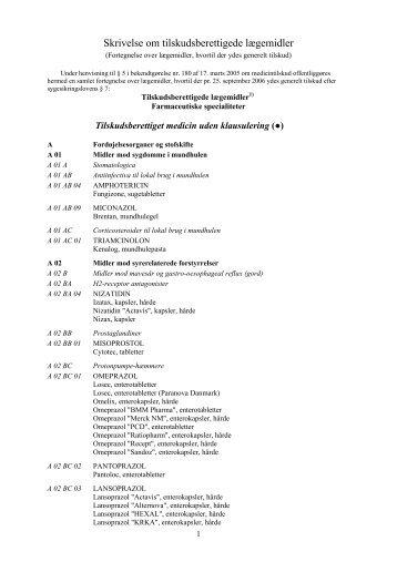 Skrivelse om tilskudsberettigede lægemidler - Morbus Addison Portal