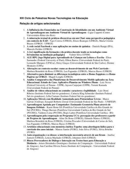 Relação de trabalhos selecionados - cinted/ufrgs