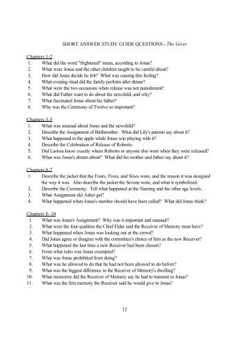 short answer study guide questions pyg on act one  12 short answer study guide questions the giver